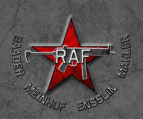 Il simbolo della Raf con la pistola mitragliatrice Heckler&Koch Mp5