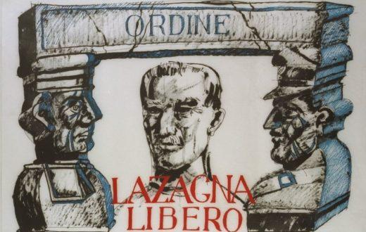 1975 - Manifesto con un disegno di Dario Fo, a sostegno della liberazione di G. B. Lazagna, accusato di essere uno dei capi ideologici delle Brigate Rosse